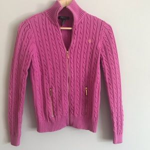 Ralph Lauren pink zip up cable knit sweater